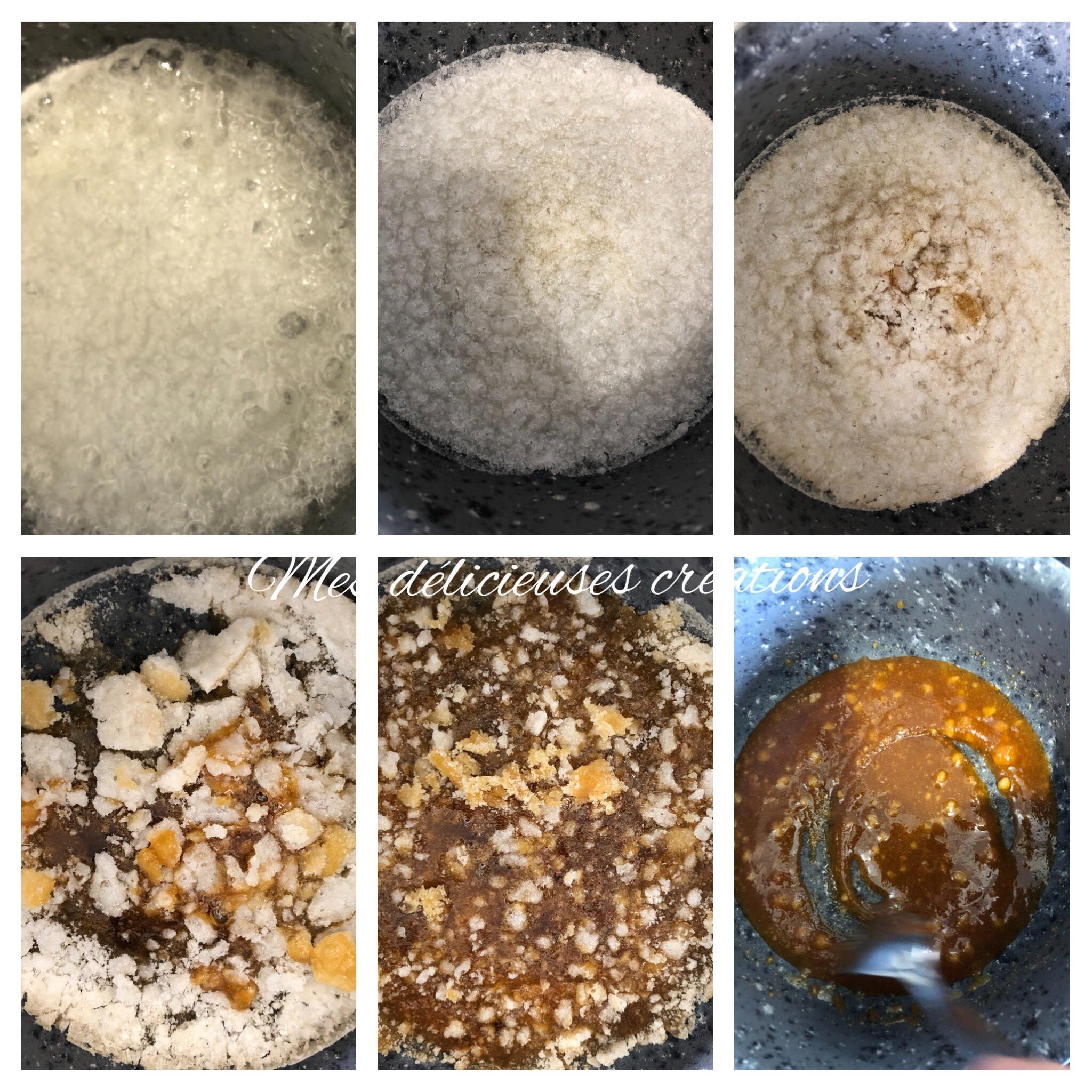 étape sucre fondu caramel