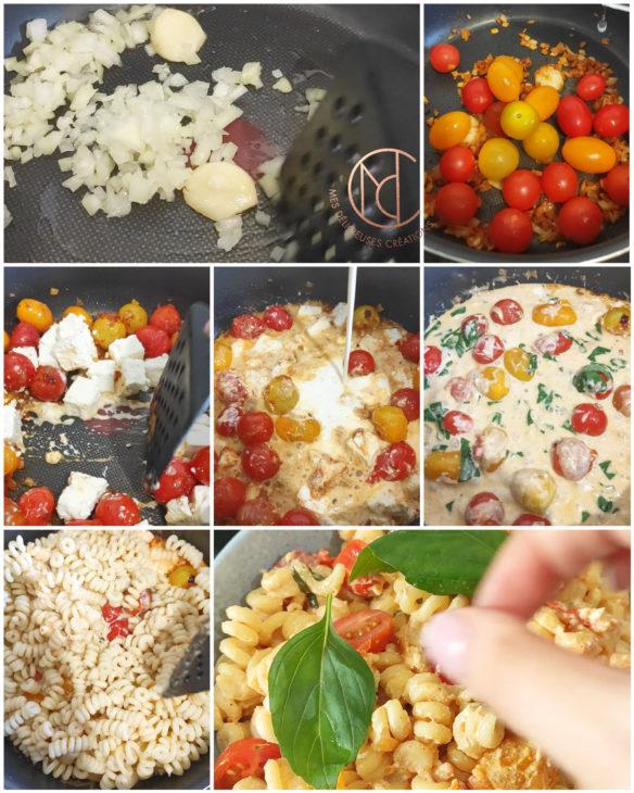 étapes réalisation pâte fusilli feta tomate