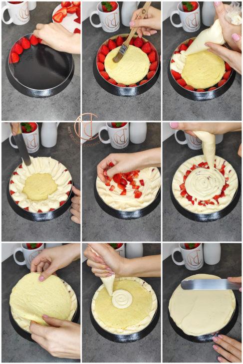 montage fraisier amande vanille